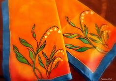 Lily of the Valley - Hand painted silk scarf