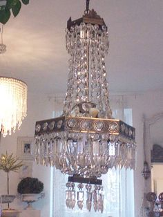 SALE!!! Glamorous tall Venetian Murano 3bulbs empire style crystal brass CASCADE chandelier french hexagon crown drops beads perfect