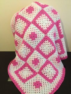 Crochet Patchwork Granny Square Baby Blanket/Throw and Matching Cushion in Pink