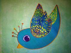 Artfabrik by Laura Wasilowski Iron On Applique, Wool Applique, Bird Quilt, Bird Patterns, Mug Rugs, Mini Quilts, Art Journal Pages, Sewing Crafts, Best Gifts