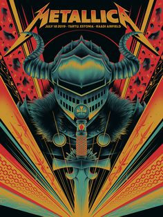 Poster for Metallica's Tartu show. APs available in my store. Arte Heavy Metal, Metallica Art, Punk Poster, Rock Band Posters, Vintage Music Posters, Metal Artwork, Concert Posters, Metal Bands, Rock Art