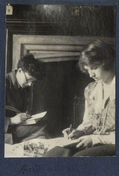 'Hard at it' (Mark Gertler; Julian Ottoline Vinogradoff (née Morrell)), by Lady Ottoline Morrell, 1923 - NPG Ax141481 - © National Portrait Gallery, London