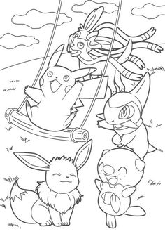 All Pokemon anime coloring pages for kids, printable free
