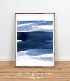 Blue Abstract Watercolor Print, Navy Wall Art, Indigo Digital Print, Navy Wall Art, Waves Print, Navy Blue Art, Navy Decor, Blue Abstract by HelloGorgeousWallArt on Etsy https://www.etsy.com/listing/510314198/blue-abstract-watercolor-print-navy-wall
