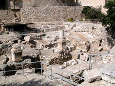 Pool of Bethsaida (now dry and built up over generations) where Jesus healed a paralytic who had waited most of his life for the waters to be stirred so he could be healed