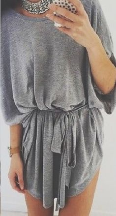 Mini Dress | Grey Bohemian Mini dress