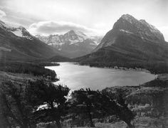 In case you missed it, the Many Glacier Road opened last week! But what did this region look like before the Many Glacier Hotel and other developments were constructed? This photo from around 1911 gives us some idea.   Construction on the hotel began in 1914, but before that there was a small mining boom nearby from 1898-1900.