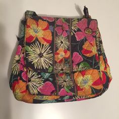 "Vera Bradley l Crossbody Pink, Grey and Orange Crossbody Vera Bradley. Used, washed once. No holes or tears. Comes from a smoke free and pet free home.      Dimensions: 12""W x 4"" D x 12"" H                             Adjustable Strap Length: 25""-51"" Vera Bradley Bags Crossbody Bags"