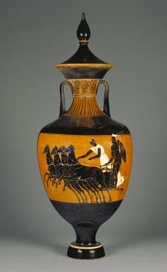 """Side B / Attic Panathenaic Amphora with Lid,"" Attributed to the Marsyas Painter, Athens, Greece; 340 - 339 B.C. Terracotta."