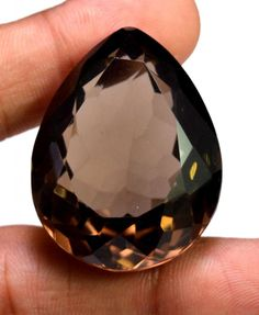 100ct VS Quality Big Natural Pear Cut Smokey Quartz Pendant Size Loose Gemstone #krishnagemsnjewels
