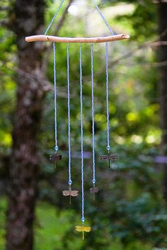 A Touch of Glass, Aquamarine Beads, Dragonfly, Bead Mobile, Bead Hanging, Sun Catchers, Wall Decor, Light Catchers, Glass Beads