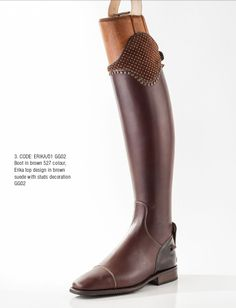 Chocolate brown dress boot, suede Erika top, with brass accents. Contact us at stylemyride.net to order. Our #boots, come in traditonal competion colors and designs, or any color your heart desires. Style My Ride also innovated the interchangeable top, where riders can go from an all black traditonal look, and swap it out with as many options in leathers, colors , crystals, etc. once can imagine! #fashion, #equestrian