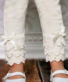 Ivory Lace Ruffle Leggings - Toddler & Girls | zulily
