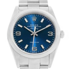17841 Rolex Air King 34mm Blue Dial Automatic Steel Unisex Watch 14000 SwissWatchExpo