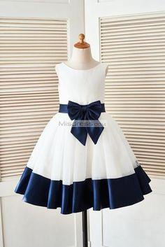 a719efdb10e Ivory Satin Tulle Flower Girl Dress with Navy Blue Belt Bow - 2019 Flower Girl  Dresses - For Wedding