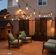 This post was sponsored by Enbrighten Seasons Color Changing Café Lights by Jasco and Acorn Influence. All opinions and comments are mine, I only promote products I believe in. Backyard Cafe, Backyard Ideas, Hanging Patio Lights, Bistro Lights, Color Changing Lights, Backyard Lighting, Acorn, Outdoor Ideas, Outdoor Spaces