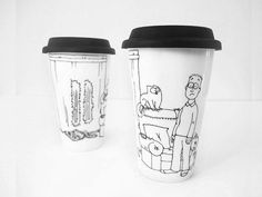 Travel Mug Simon's Cat mess, hand painted, Eco-friendly Cup, Thermal Double-wall Porcelain Travel Mug, Hand painted Travel Mug Custom mug
