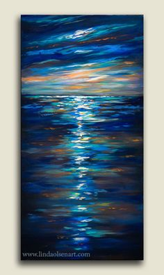 """I started this 18x36"""" gallery wrap painting 2 months ago and love the small color splashes in the sky and water. I am now doing a similar painting that is 20x60"""". Sometimes when I come across something I am working on that intrigues me, I do a series to further explore the possibilities. This one is called """"Dusk on the Ocean"""". Hope it finds a home to be displayed in."""