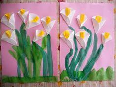 bloemen van rond papier kala jednoduché pre deti na VYV Kindergarten Art, Preschool Crafts, Easter Crafts, Kids Crafts, Arts And Crafts, Spring Art Projects, Spring Crafts, Flower Crafts, Flower Art
