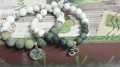 Couples Bracelets Frosted Howlite and Rhyolite Jasper Stone