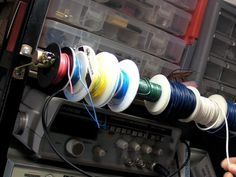 Build a basic wire rack for keeping wire spools organized and easily accessible at the workbench.