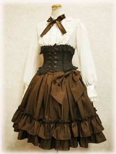 Slightly Steampunked Classic Lolita. I love the rich browns in this outfit.