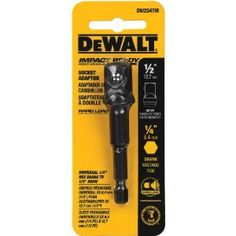The DEWALT Hex Shank To Socket Adaptor. Impact Driver Rated Socket Adaptors – Best In Class Durability. Drive Size: in (hex), in (square). Commonly used by Mechanical Contractors – HVAC, Deck Builders, General Contractors, Overhead Garage Door installers. Best Hand Tools, Cordless Drill Reviews, Promo Amazon, Impact Wrench, Drill Driver, Impact Driver, Socket Set, Makita, Shopping Hacks