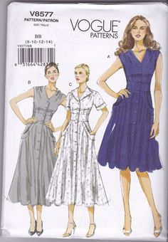 Dress Patterns Misses' Size 8 10 12 14 Button Front Fitted and Flared Sleeveless Side Front Pockets Dresses Vogue Sewing Pattern 8577 Uncut Size 16 Dresses, Knee Length Dresses, Day Dresses, Summer Dresses, Vogue Patterns, Summer Dress Patterns, Miss Dress, Vintage Sewing Patterns, Pattern Sewing