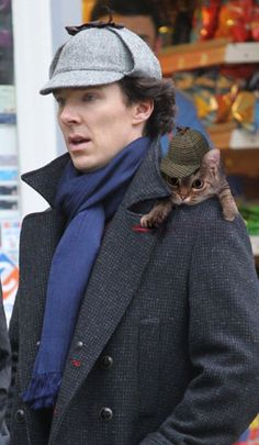 Although we can't decide who's cuter in a flat cap. | 19 Very Important Photos Of Benedict Cumberbatch With Kittens
