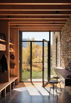 This modern ranch style home was custom designed by Lake Flato Architecture along with Yellowstone Traditions, located in Cody, Wyoming.