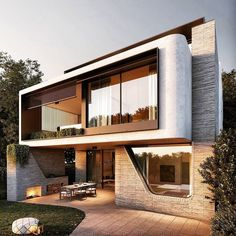 Modern House Facades, Modern Exterior House Designs, Design Exterior, Dream House Exterior, Modern Architecture House, Facade Design, Modern House Design, Modern Houses, Architecture Interiors