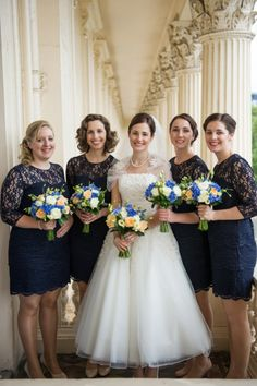 London-themed contemporary cool Jewish wedding at The ICA (Institute of Contemporary Arts), in London with bridesmaids dressed in navy blue. Navy Lace Bridesmaid Dress, Discount Bridesmaid Dresses, Bridesmaid Favors, Brides And Bridesmaids, Jewish Wedding Ceremony, Wedding Bride, Lace Wedding, Dream Wedding, Jewish Weddings