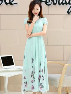 Print Patchwork Pleated Single-Breasted Expansion Maxi Dress
