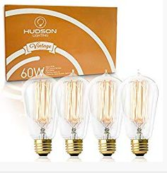 Find the best prices on Vintage Incandescent Edison Bulb Set: 60 Watt, Warm White Edison Light Bulbs - Base - 230 Lumens - Clear Glass - Dimmable Antique Exposed Filament - Decorative Lightbulbs - 4 Pack and save money. Hudson Lighting, Retro Lighting, Lighting Ideas, Vintage Light Bulbs, White Light Bulbs, Thomas Edison Light Bulb, Pendant Light Fixtures, Glass Design, Clear Glass