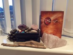 My Crystals and one of my favourite books. I read The Secret weekly to help me attract