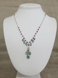 Moss Aquamarine, Garnet, Silver Plated Pyrite, and Sterling Silver Necklace.   www.sarahwalkerjewelry.com