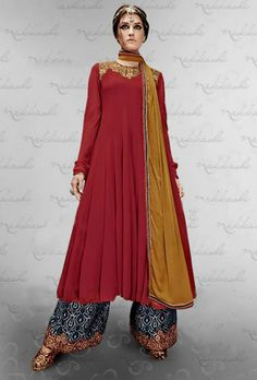 USD 118.23 USD 118.23 Vikram Phadnis Red Georgette Palazzo Suit 44382