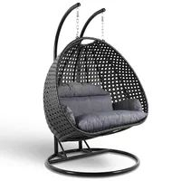 Wicker Hanging 2 person Egg Swing Chair - LeisureMod fun egg-shaped porch swing chair which fits 2 people comfortably was built to last in the outdoors with its strong durable iron frame it will be perfect for all weathers. Sit in luxurious c Wicker Swing, Egg Swing Chair, Patio Swing, Swing Chairs, Garden Swings, Backyard Patio, Hanging Chair With Stand, Hanging Swing Chair, Swinging Chair