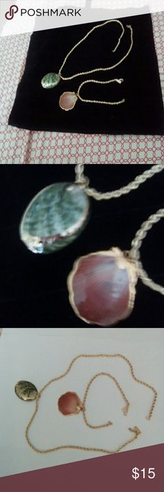 "Unique Shell Pendants and chains. Uniquely designed  Shell Pendants with Gold trimmings  on 18 "" gold chain. Complimentary matching wrist chain. Caribbean Islands Accessories"