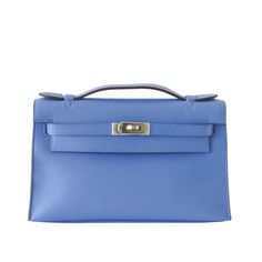 Hermes Black Kelly Pochette Bag Clutch Palladium Hardware