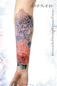 Blast Over Tattoo, Watercolor Tattoo Sleeve, Flower Tattoos, Art Tattoos, Tatoos, Crane Tattoo, Back Tattoo Women, Bee Tattoo, Geometric Flower