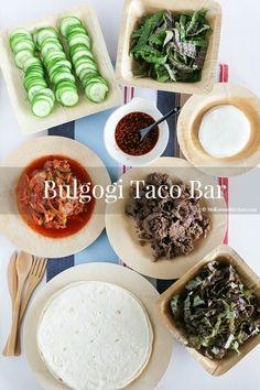 Easy entertaining idea - Korean bulgogi taco bar: Mexican fused but loaded with authentic Korean flavour! Korean Bbq Beef, Korean Bulgogi, Asian Beef, Asian Recipes, Beef Recipes, Cooking Recipes, Healthy Recipes, Healthy Food, Dishes Recipes
