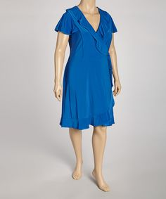 Take a look at this Tiana B Blue Ruffle Wrap Dress - Plus on zulily today!