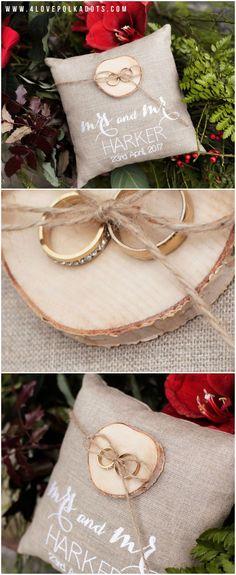 Linen Ring Bearer Pillow with wooden holder #ringbearer #weddingpillow #rustic #Christmas #winter #winterwedding #weddingideas