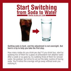 Start Switching from Soda to Water | For more info about Alkaline Water: http://www.alkalux.com/knowledge-base/about-alkaline-water.html
