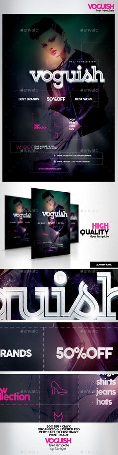 Voguish Flyer Template / $6. This flyer is perfect for the promotion of Fashion Shows, Shops/Boutiques, Sales/Promotions, New Collections, Events, Club Parties, Musicals, Festivals or Whatever you Want!.