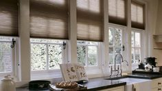 Delicious warmth and style. Duette® honeycomb shades ♦ Hunter Douglas window treatments #kitchen. Duette Honeycomb Shades. www.windowfashionsoftexas.com