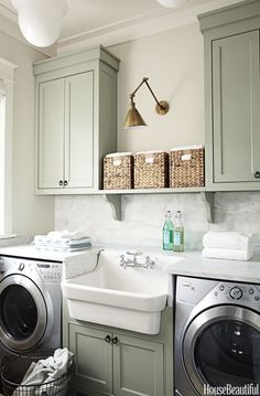 Utility Sink The 4 Elements of a Perfect Laundry Room 20 Smart Laundry Room Design Ideas and Tips for Functional Decorating Creative Laundry Room Storage + Laundry Room Remodel, Laundry Room Cabinets, Laundry Room Organization, Laundry Room Design, Laundry In Bathroom, Small Laundry, Basement Laundry, Organization Ideas, Laundry Area