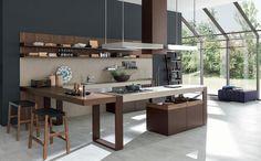 RUSTIC CHARME Kitchen with peninsula by Pedini design Alfredo Zengiaro