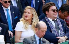 Royally good seats: Ellie had a prime position as she sat behind Prince Edward, Duke of Kent